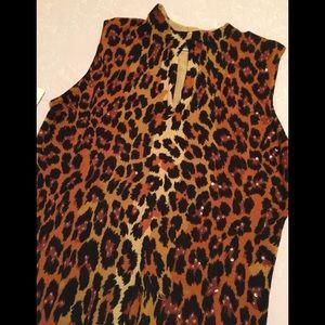 Leopard print sleeveless sweater